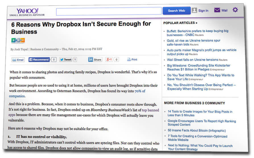 article about dropbox security weaknesses