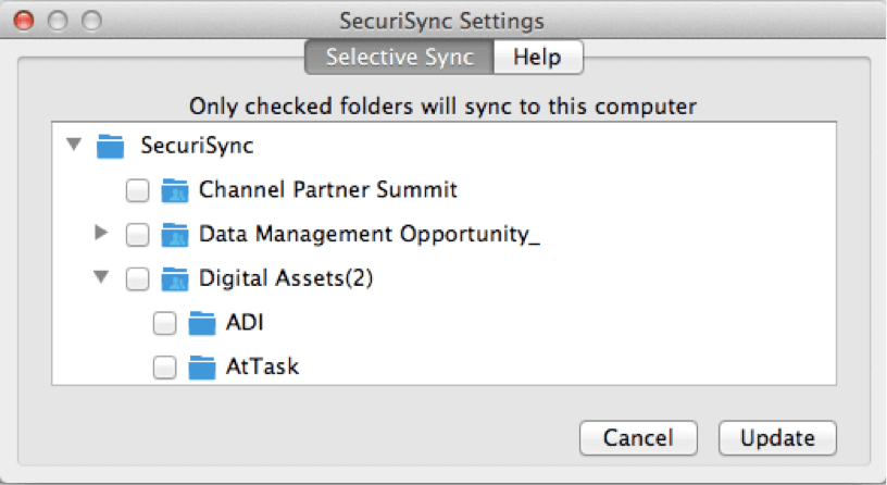 selective syncing securisync