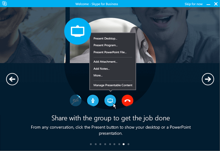 skype for business group sharing