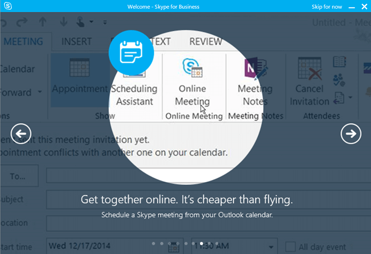 skype for business meeting scheduler