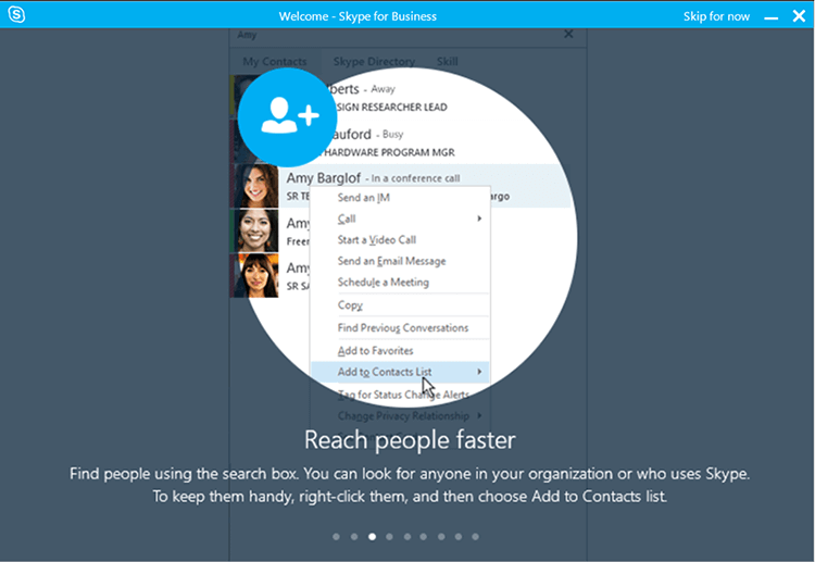 skype for business searching contacts
