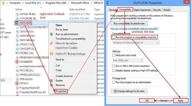 Fix the Outlook error