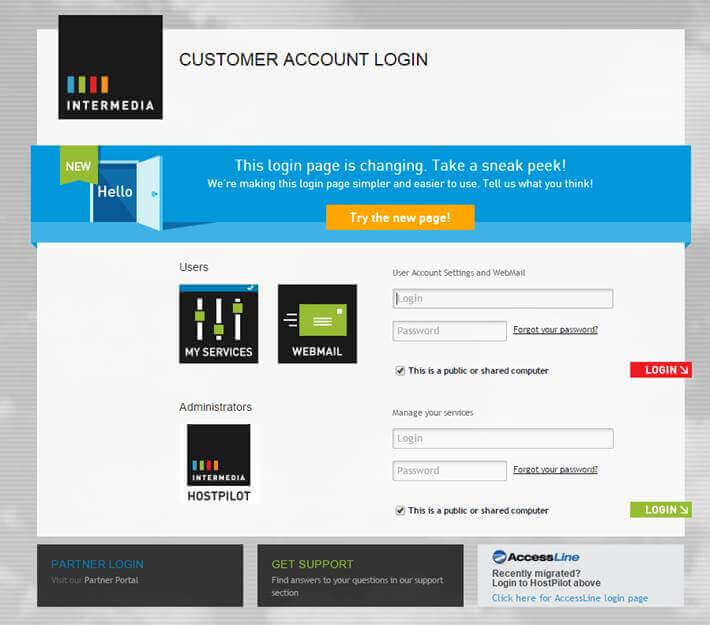 intermedia login page -- preview the new design