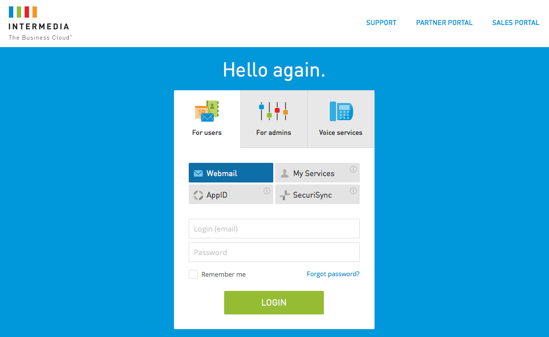 intermedia login page new design
